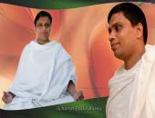 This is an image of Acharya Balkrishanji doing meditation , green, orange and white color