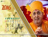 B A P S Swaminarayan February 2016 Monthly Calendar Wallpaper,