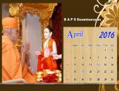 B A P S Swaminarayan April 2016 Monthly Calendar Wallpaper,