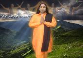 Devkinandan Ji praying picture, orange and blue color