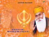 Guru Nanak Ji Wallpaper, orange, blue and white color