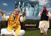 Guru Kailash Manav ji Image, green, white and yellow color