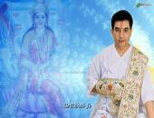 Kiritbhai ji wallpaper, blue, white and yellow color