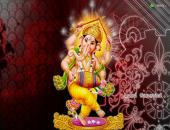 Lord Ganesh wallpaper , red , gray and yellow color