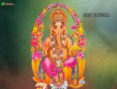 Lord Ganesha Wallpaper Yellow, Green and White Color