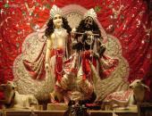 Lord Krishna and Balaram image, Red, black and gray color