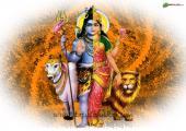 This is sober image of ardhanari, orange color