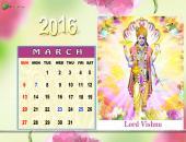 Lord Vishnu March 2016 Monthly Calendar Wallpaper,