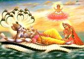 Lord Vishnu with Laxmi mata, yellow and green color