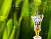 Lord Vishnu Ji wallpaper , green , yellow and  blue color