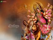 Maa Durga Wallpaper, Brown, Gray and Orange Color