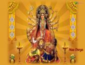 Maa Durga wallpaper, yellow , white and brown color