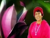osho maa priya wallpaper, green and pink color