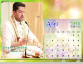 Pujya Anurag Krishna Shastri Ji April 2016 Monthly Calendar Wallpaper,