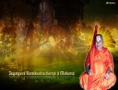 Rambhadracharya Ji wallpaper, brown and red color
