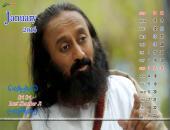 Sri Sri Ravi Shankar Ji January 2016 Monthly Calendar Wallpaper,