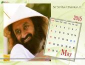 Sri Sri Ravi Shankar Ji May 2016 Monthly Calendar Wallpaper,