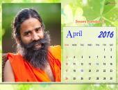 Swami Ramdev Ji April 2016 Monthly Calendar Wallpaper,