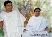 This is meditation image of Acharya Balkrishan , white and gray color