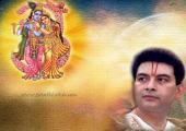 Kirit Bhai Image with Radha-Krishna Picture, orange and yellow color