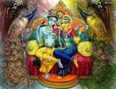 Radha krishna Image, green and yellow color