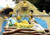 Lord Vishnu with Maa Laxmi Image, yellow and orange color