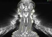 Lord Vishnu Wallpaper, black and white color