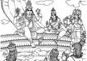 Lord Vishnu Wallpaper, white and Black color