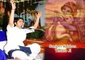 Sanjeev Krishan ji with Lord Krishna image, white and orange color